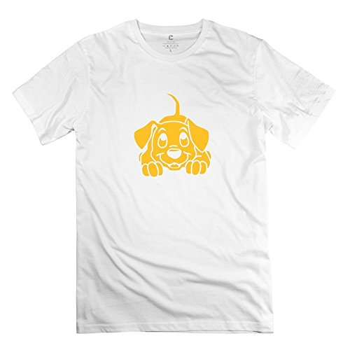[Puppy Dog Pets Yellow 100% Cotton Men's Tees Shirt White Size M Print By Rahk] (Peter Cotton Tail)