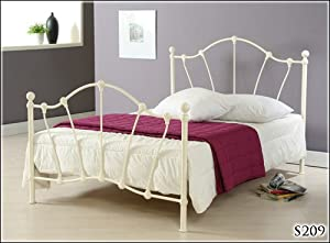 BRAND NEW 5ft IVORY METAL KING SIZE BED FRAME BEDSTEAD       Customer review and more information