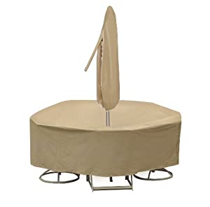 Protective Covers Weatherproof Patio Table and Highback Chair Set Cover, 60 Inch, Round Table, Tan by Protective Covers