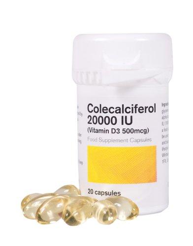 Vitamin D3 20000iu Colecalciferol - 20 Vegetarian Capsules