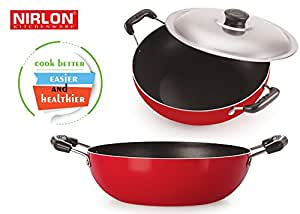 Aluminium Red & Black Non-Stick Set Of Deep Kadhai With Lid & Kadai Without Lid, Combo Offer In Kadhai set.
