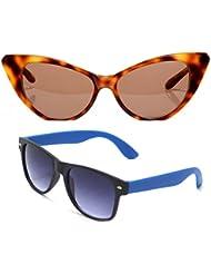 New Stylish UV Protected Combo Pack Of Sunglasses For Women / Girl ( BrownCateye-RoyalblueWayfarer ) ( CM-SUN-...