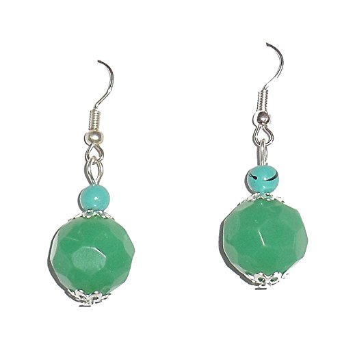 Beadworks Beadworks Beaded Earrings - Fashion Drop Green Colour Faceted Glass Beads Earrings (Multicolor)