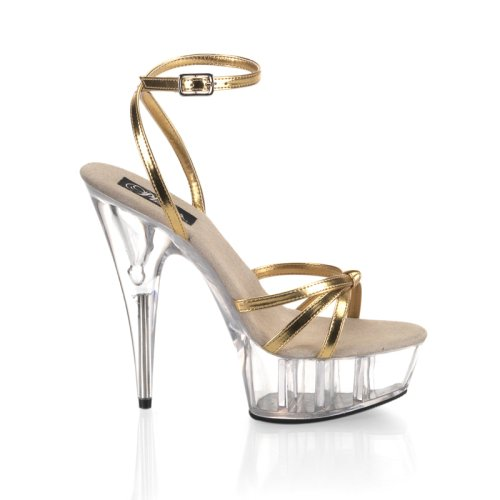 Delight-638, 5 3/4'' Stiletto Heel Knotted Ankle Wrap Platform Sandal in Gold/Clear and Sizes 6-14