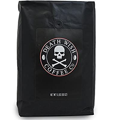 Death Wish Ground Coffee, The World's Strongest Coffee, Fair Trade and USDA Certified Organic - 5 Pound Bulk Value-Bag