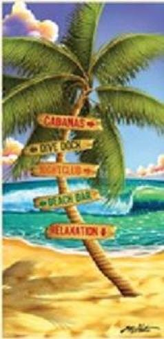 Palm Tree Vacation Sign Beach Towel