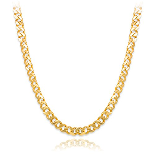 Men'S Solid 14K Yellow Gold 10Mm Cuban Link Chain Necklace, 18""