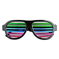 Satu Brown Sound Sensitive Rechargeable Brown Slotted Shutter Light Up Glasses, Black