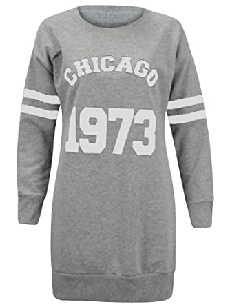 (D) WOMENS CHICAGO 1973 VARSITY STRIPED SLEEVE LADIES LONG JUMPER SWEATSHIRT TOP | GREY - Chicago 1973 sweatshirt | 8
