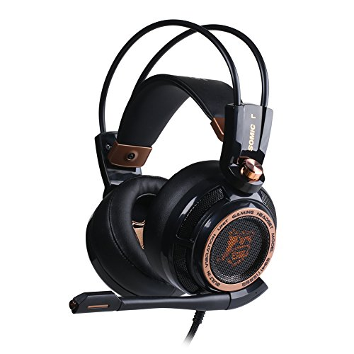 Gaming Headset, TNI Pro G941 7.1 Virtual Surround Sound Effect Active Noise Cancelling Powerful Bass Intelligent Vibration Cool LED Anti-interference USB Cord Gaming Headset - Noise Reduction (Black)