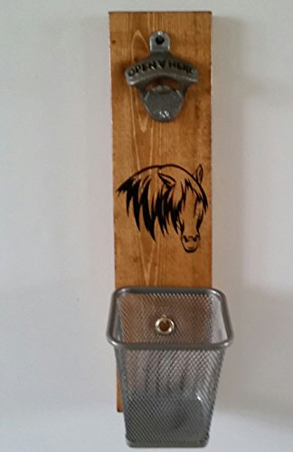 Bottle Opener Wall Mount Embossed Horse Silhouette Design with Cap Catcher (Broncos Wall Mount Bottle Opener compare prices)