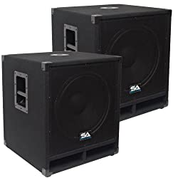 """Seismic Audio - Baby-Tremor-PKG1 - Pair of 15"""" Pro Audio Subwoofer Cabinets - 300 Watts RMS - PA/DJ Stage, Studio, Live Sound Subwoofers from Seismic Audio"""