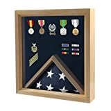 Flag and Medal Display Case - Military Shadow Box