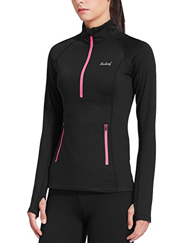 Baleaf Women's Thermal Fleece Half Zip Running Top Black Size XL (Thermal Pocket compare prices)