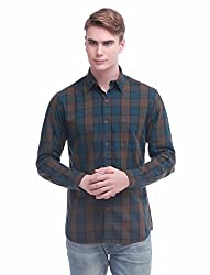 Jogur khaki & Blue Color Checkered Shirt For Men