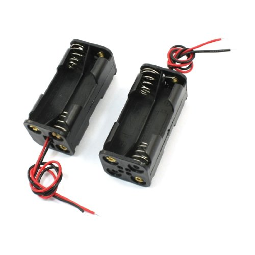 uxcell® 2pcs Black 2-Layers 4 x 1.5V AAA Battery Holder Case Box w Wire Leads
