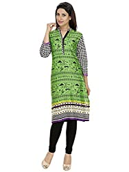 Tanvi Green Cotton Straight Kurti For Women