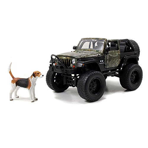 Jada Toys Diecast Jeep Wrangler with Hunting Dog Figure
