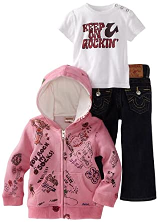 True Religion Baby-Girls Infant 3 Piece Box Set, Berry, 6-12 Months