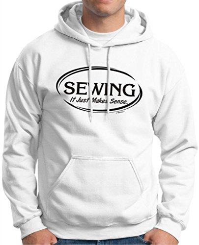 Sewing It Just Makes Sense Premium Hoodie Sweatshirt Large White
