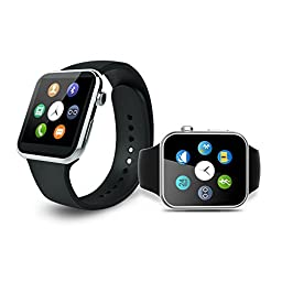 Ottertooth Smart Watch with Heart Rate Monitor, Bluetooth Wristwatch with HD Touch Screen, For iPhone, Samsung galaxy, Nexus, HTC, Sony and Other Android Smartphones - Silver