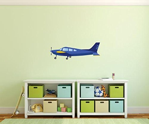 Design with Vinyl 1 Pro 154 Decor Item Cartoon Airplane Wall Decal Peel and Stick Sticker Mural, 8 x 24-Inch