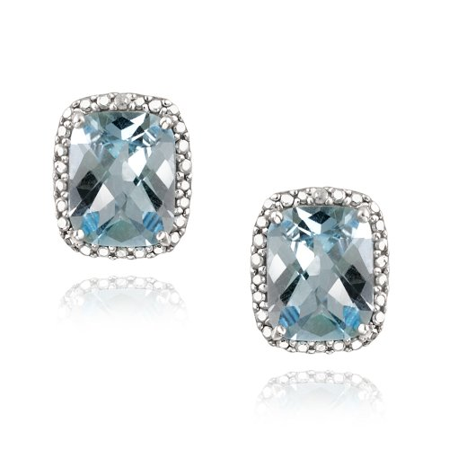 Sterling Silver 5.5ct Blue Topaz & Diamond Accent Cushion Cut Earrings