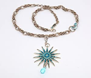 .925 Sterling Silver Plated Necklace by Israeli Amaro Jewelry Studio from 'Ocean' Collection Adorned with a 15-Pointed Star with a Tear Drop Charm Accented with Blue Tones Swarovski Crystals