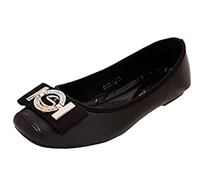 Akar Women's PU Square-Toed Lady Flats Shoes Pumps Ballet Dancing Shoes