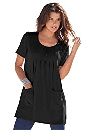 Denim 24/7 Women\'s Plus Size Trapeze Tunic With 2 Pockets Black,1X