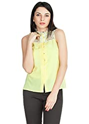Zovi Womens Crepe Lace Button Down (102004409010L _Yellow _Large)