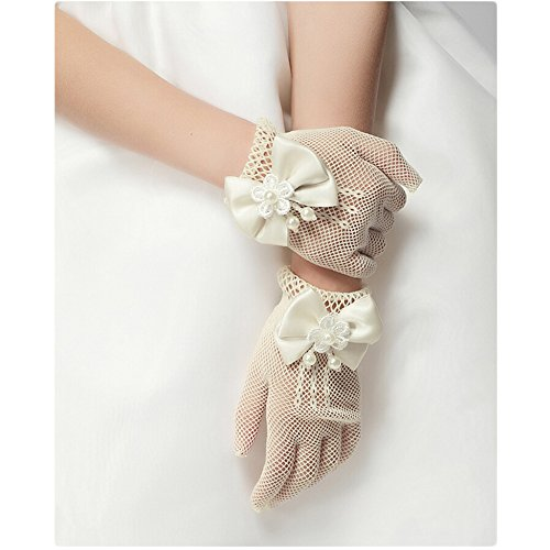 Unilove Flower Girl's Lace Bowknot Net Voile Wedding Gloves Princess Glove(Ivory)