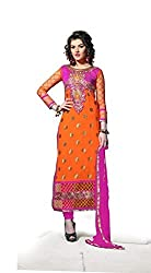 Decent World Orange Georgette Designer Dress Material