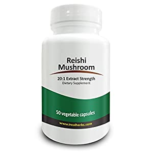 Real Herbs' Reishi Mushroom - Immune System Support, Liver Tonic & Alleviates Common Allergies - 20:1 Extract, Equal to 14,000 Mg of Pure Reishi Mushroom - 700mg X 50 Capsules
