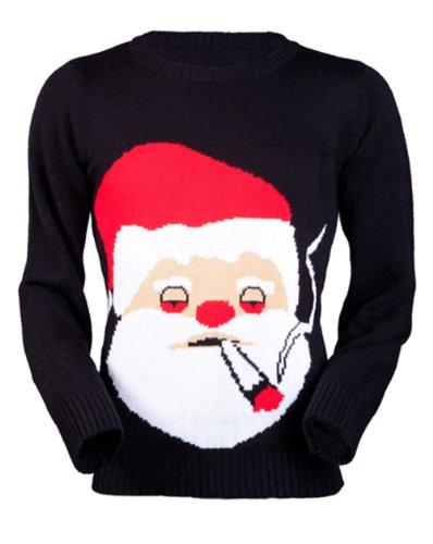 Jingleballz Men's Smokin' Santa Sweater -L Black