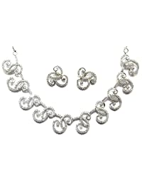 Shingar Jewellery Ksvk Jewels Fine Quality Signity Silver Plated American Diamonds Necklace Set For Women (6537...