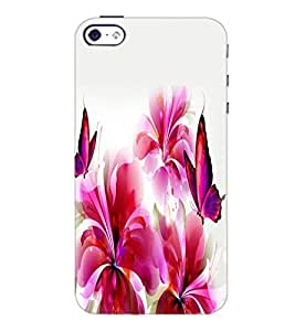 PrintDhaba Butterfly and Flowers D-2387 Back Case Cover for APPLE IPHONE 4S (Multi-Coloured)
