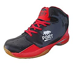 Port Mens High Ankle Red Synthetic Basketball Shoes( size 9 ind/uk)