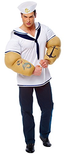 Costume Culture Men's Sailor Shirt with Detachable Arms Costume