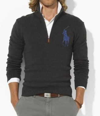 Polo Ralph Lauren Mens Big Pony Fitted Cotton Half Zip Jumper Sweater in Grey (X-Large)