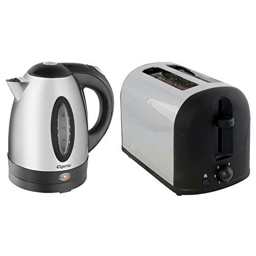 Elgento Brushed Stainless Steel Silver Electric Kettle And 2 Slice Toaster Set