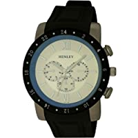 Henley Men's Quartz Watch with Silver Dial Analogue Display and Black Lazer Crystal Silicone Strap H02041.2