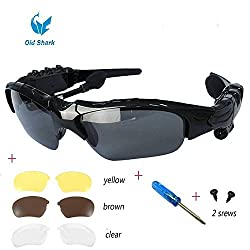Oldshark Wireless Music Sunglasses with Stereo Handsfree Bluetooth 4.1 Headset Headphone for iPhone4 / 5 / 5S, Samsung Galaxy S3 S4 S5, Note2 / Note3, HTC, LG and All Smart Phones or PC Tablets with Bluetooth Function + Fre