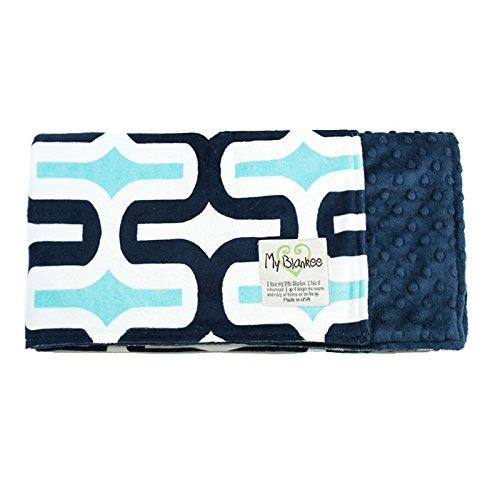 "My Blankee Dolce Vita Milano Minky Navy/Topaz w/ Minky Dot Navy Baby Blanket, 29"" x 35"""