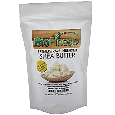 1LB Organic Shea Butter - 100% Pure, Raw, Unrefined - Grade A Ivory - African Ghana - Best For Dry or Ache-Prone Skin, Eczema, Stretch Marks, Delicate Baby Skin - Free E-book Recipe - 1 Lb (16 Oz)