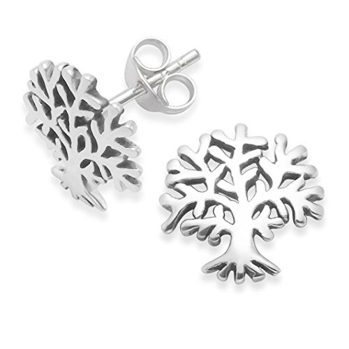 Orecchini in argento Sterling con albero della vita, dimensioni: 11 mm x 11 mm. Albero della vita Orecchini a perno. In confezione regalo. 5398