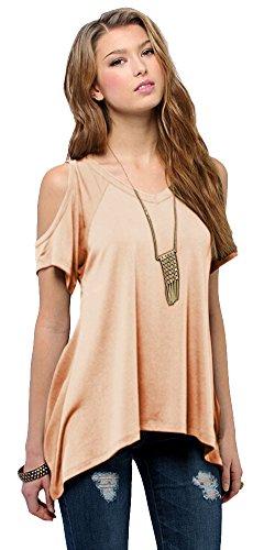 Women's Vogue Shoulder Off Wide Hem Design Top Shirt (XX-Large, Nude Pink)