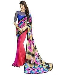 Pramukh saris Womens Georgette Printed Sari(Pink,Blue)