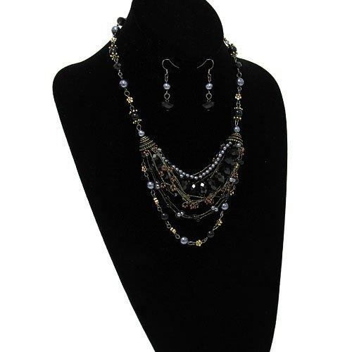 1917 25 Chain Bead Jet Black Gunmetal Multi Necklace Earring Set