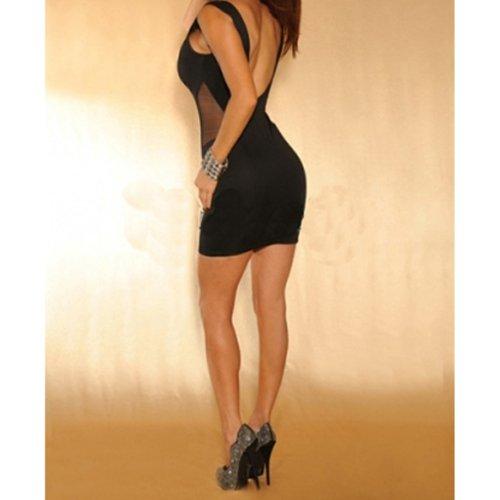 c79d72f720 Vktech® Woman Sexy Tight Backless Dress Sleeveless Deep V Visible Waist  Black